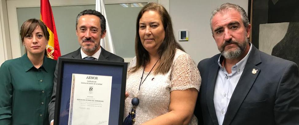 La AVT recibe el Certificado de Calidad de AENOR