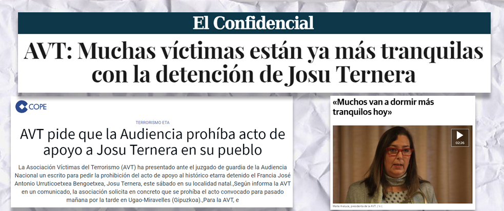 Reacción de la AVT ante la detención de Josu Ternera