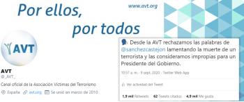 La AVT lamenta las palabras de Pedro Sánchez sobre la muerte de un etarra