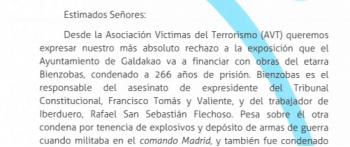 La AVT exige al Ayuntamiento de Galdakao que no subvencione con dinero público la exposición del etarra Bienzobas